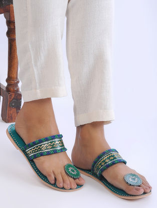 Green Handcrafted Zari-Embroidered Leather Flats