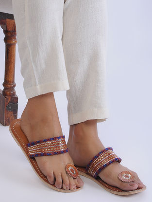 Brown Handcrafted Zari-Embroidered Leather Flats