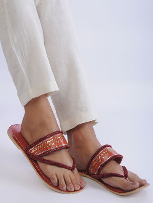 Red Handcrafted Zari-Embroidered Leather Flats