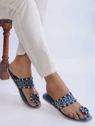 Blue Handcrafted Mashroo and Leather Flats