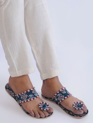Blue-Red Handcrafted Mashroo and Leather Flats