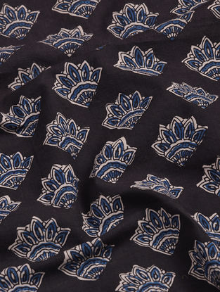 Black-Blue Bagru-printed Cotton Fabric