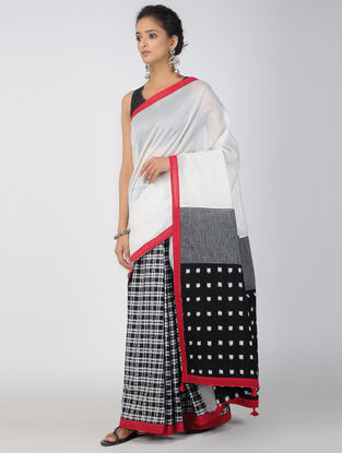 Ivory-Black Ikat Constructed Chanderi Saree with Tassels (Set of 2)