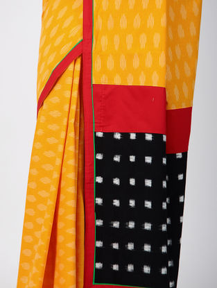 Yellow-Black Ikat Constructed Cotton Sareewith Tassels (Set of 2)