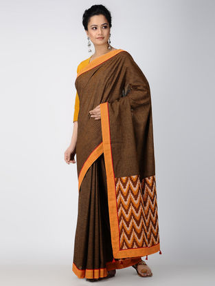 Brown-Orange Ikat Constructed Cotton Sareewith Tassels (Set of 2)