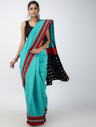 Turquoise-Black Ikat Constructed Chanderi Saree with Tassels (Set of 2)