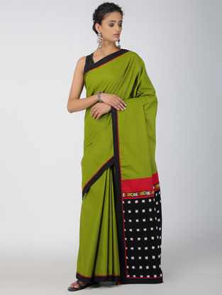 Green-Black Hand-embroidered Ikat Constructed Cotton Sareewith Tassels (Set of 2)