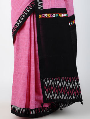 Pink-Black Hand-embroidered Ikat Constructed Cotton Sareewith Tassels (Set of 2)