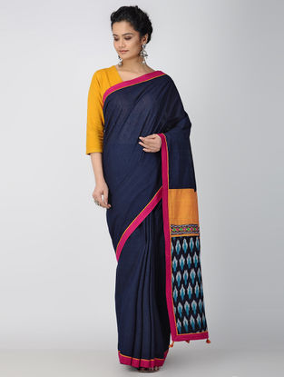 Blue-Orange Hand-embroidered Ikat Cotton Constructed Saree