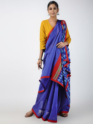 Blue-Ivory Hand-embroidered Ikat Constructed Chanderi Saree with Tassels (Set of 2)