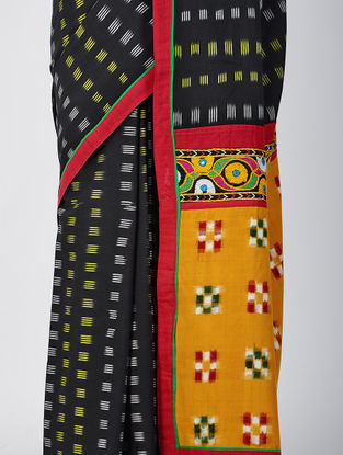 Black-Yellow Hand-embroidered Ikat Constructed Cotton Sareewith Tassels (Set of 2)