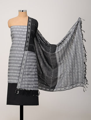 Grey-Black Ikat Cotton Suit Fabric with Dupatta (Set of 3)