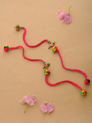 Pink-Multicolor Thread Rakhi with Wood Beads (Set of 2)