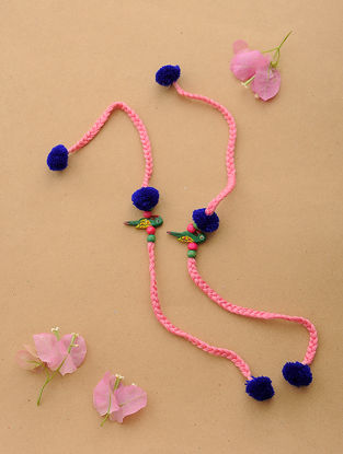 Pink-Blue Thread Rakhi with Wood Beads (Set of 2)