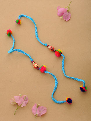 Blue-Multicolor Thread Rakhi with Wood Beads (Set of 2)