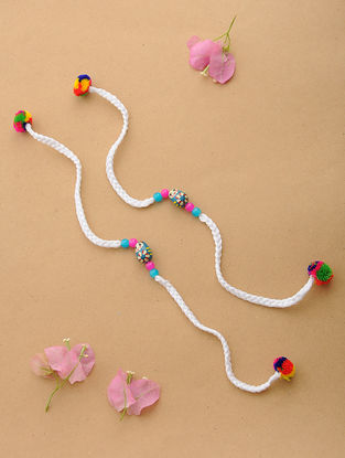 White-Multicolor Thread Rakhi with Wood Beads (Set of 2)