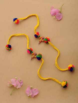 Yellow-Multicolor Thread Rakhi with Wood Beads (Set of 2)