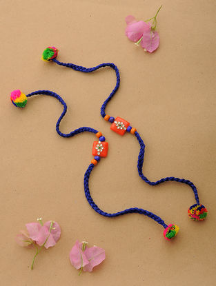 Blue-Multicolor Thread Kundan-inspired Rakhi (Set of 2)