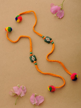 Orange-Multicolor Thread Kundan-inspired Rakhi (Set of 2)