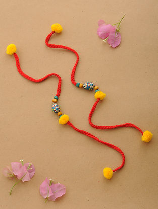 Red-Yellow Thread Rakhi with Wood Beads (Set of 2)