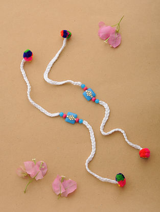 White-Multicolor Thread Kundan-inspired Rakhi (Set of 2)