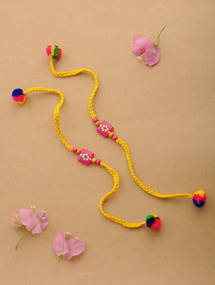 Yellow-Multicolor Thread Kundan-inspired Rakhi (Set of 2)