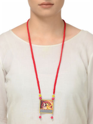 Red Thread Necklace with Lord Krishna with Radha Motif