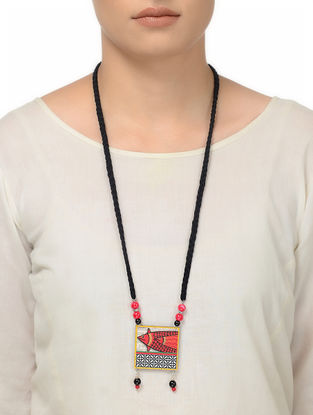 Black Thread Necklace with Fish Motif