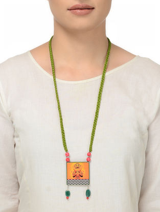 Green Thread Necklace with Goddess Laxmi Motif