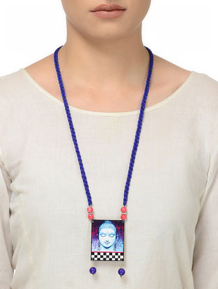 Blue Thread Necklace with Buddha Motif