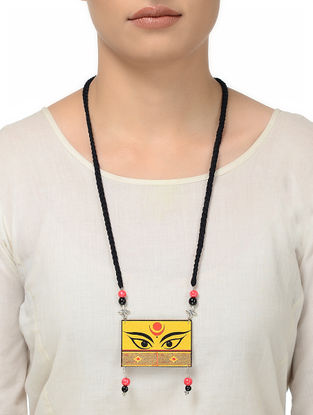 Black Thread Necklace with Goddess Eye Motif