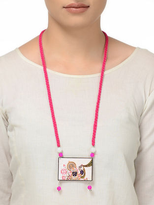 Pink Thread Necklace with Lord Krishna Motif