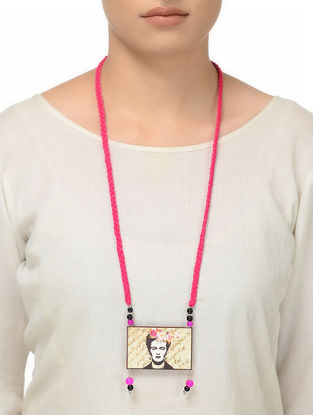 Pink Thread Necklace with Frida Motif