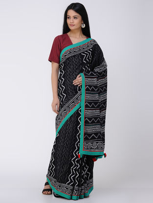 Black-White Block-printed Constructed Cotton Saree with Tassels