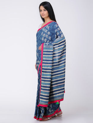 Blue-White Block-printed Constructed Cotton Saree with Tassels