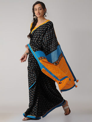 Black-Mustard Constructed Ikat Cotton Saree with Tassels