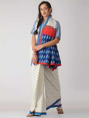 Ivory-Blue Constructed Ikat Cotton Saree with Tassels