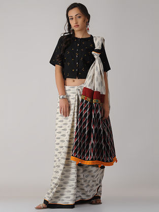 Ivory-Black Constructed Ikat Cotton Saree with Tassels