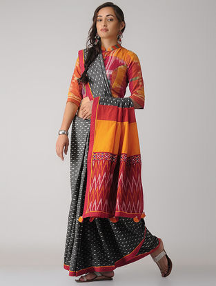 Grey-Red Constructed Ikat Cotton Saree with Tassels
