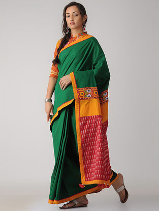 Green-Red Constructed Ikat Cotton Saree with Tassels
