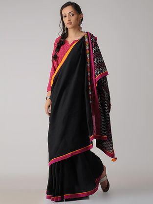 Black-Pink Constructed Ikat Cotton Saree with Tassels
