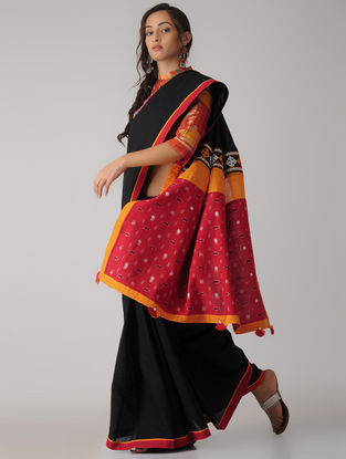 Black-Red Constructed Ikat Cotton Saree with Tassels