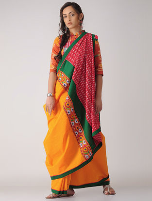 Mustard-Red Constructed Ikat Cotton Saree with Tassels