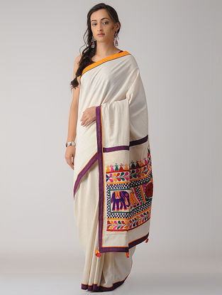 Ivory-Purple Constructed Cotton Saree with Tassels
