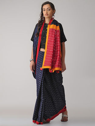 Blue-Red Constructed Ikat Cotton Saree with Tassels