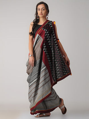Grey-Maroon Constructed Ikat Cotton Saree with Tassels