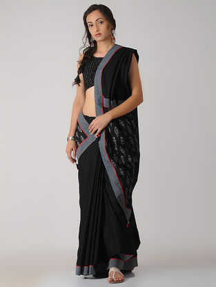Black-Ivory Constructed Ikat Cotton Saree with Tassels
