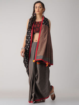 Black-Ivory Constructed Cotton Saree with Tassels