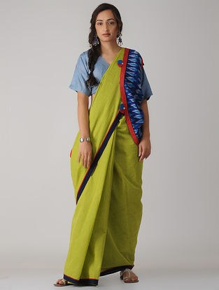 Green-Blue Constructed Ikat Cotton Saree with Tassels