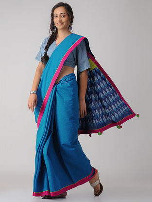 Blue-Pink Constructed Ikat Cotton Saree with Tassels